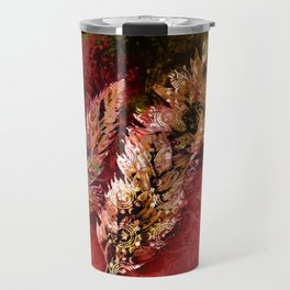 Abstract Red Floral Sprays Travel Mug