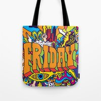 friday Tote Bags featuring Friday by Roberlan Borges