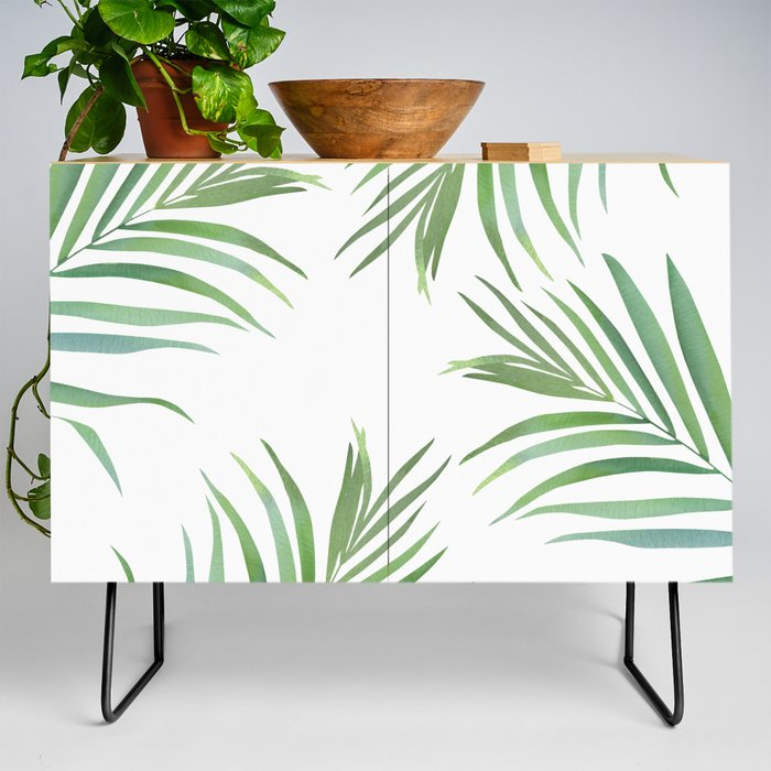 Green Leaf Watercolor Design Credenza