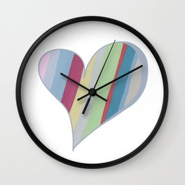 Big Hearted, Big Love Heart-shaped Colorful Stripe by Christie Olstad Wall Clock