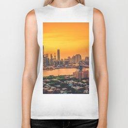 New York City Skyline with Brooklyn Bridge Biker Tank