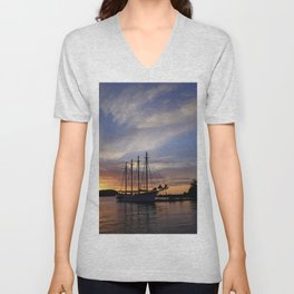 Schooner at sun rise Unisex V-Neck