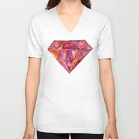 geode V-neck T-shirts featuring Million-Carat Ruby by Cat Coquillette