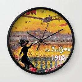 1910 Aviation week Lyon France Wall Clock
