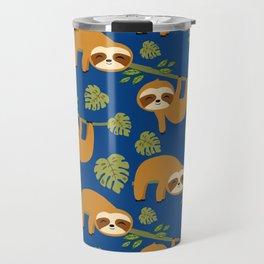 Cute Sloths on Blue, Baby Sloth Hanging Travel Mug