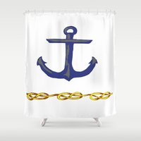 nautical Shower Curtains featuring Nautical by DesignSam