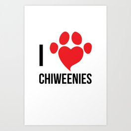 I Love Chiweenie Logo T-Shirt Art Print