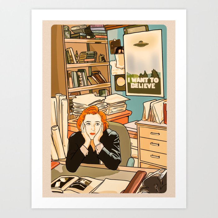 Dana Scully sit to the Fox Mulder's office Art Print by mimie20