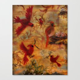 The Cardinal Tree Collage Canvas Print