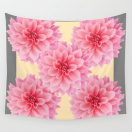 PINK DAHLIA FLOWERS IN YELLOW-GREY Wall Tapestry