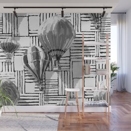Up And Away Hot Air Balloons | Black & White Pattern Wall Mural