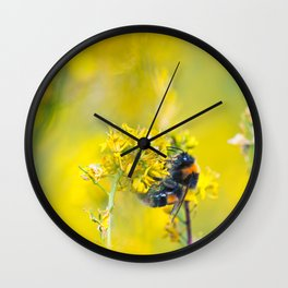 Bee Happy in Yellow Wall Clock
