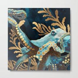 Indigo Octopus Metal Print