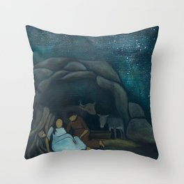 Mary in Labor Throw Pillow