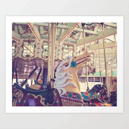 Boardwalk Carousel Art Print