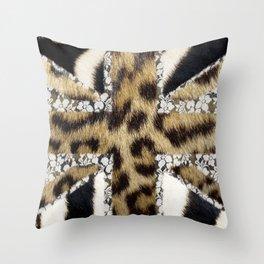 Wild   Hipster leopard Print Zebra UK Union Jack Flag  Throw Pillow