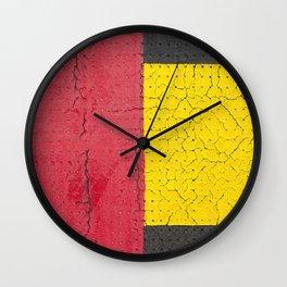 Red Grey Yellow Wall Clock