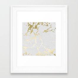Kintsugi Ceramic Gold on Lunar Gray Framed Art Print