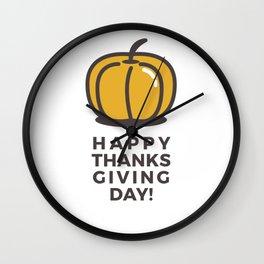 Happy Thanksgiving Day Pumpkin Design Wall Clock