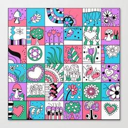Inchies Doodle Design - Dark Pink Purple Blue - Spring Canvas Print