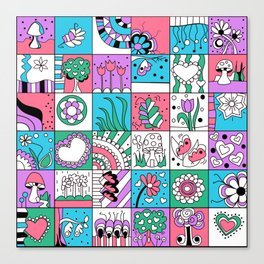 Inchies Doodle Design - Dark Pink Purple Blue - Spring Canvas Print