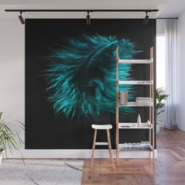 Feather in green-turquoise Wall Mural