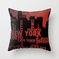 cities Throw Pillows featuring Cities by Colin Webber
