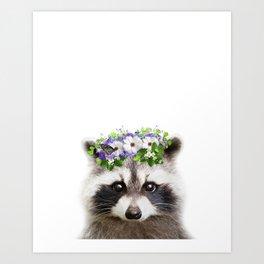Raccoon Flowers Crown Print by Zouzounio Art Art Print