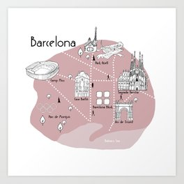 Mapping Barcelona - Pink Art Print