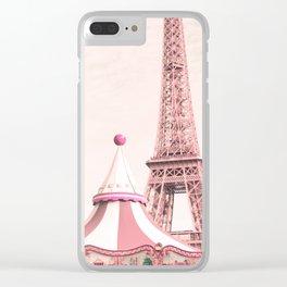 Paris Nursery, Violet, Eiffel Tower Clear iPhone Case