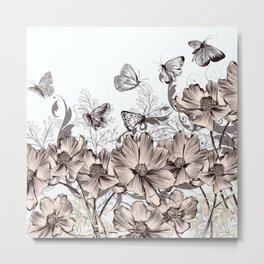 Butterfly Flowers And Butterflies Stencil Metal Print