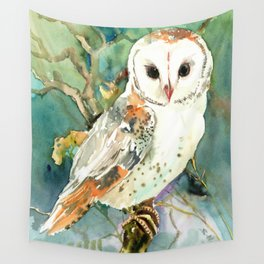 Barn Owl, woodland design owl Wall Tapestry