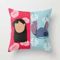 lilo and stitch Throw Pillows featuring Lilo & Stitch by Raquel Segal