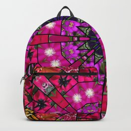 Garden mosaic mandala - radiant red and pink Kaleidoscope with glimmers of gold Backpack