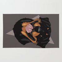 rottweiler Area & Throw Rugs featuring Rottweiler by Mickeyila Studios