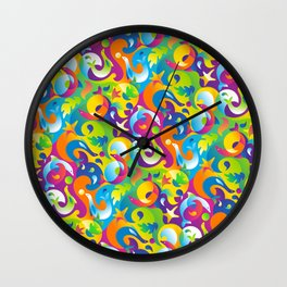 Dolphins, Seals and Sea Life in Tropical Ocean Waves Wall Clock