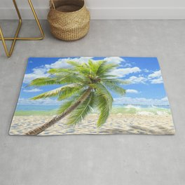 Lonely Palm Tree At Tropical Beach Ultra HD Rug