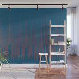 Red Dark Blue Frequency Line Art Pattern 2021 Color of the Year Passionate and Long Horizon Wall Mural