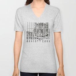 Boycott Zoos Unisex V-Neck