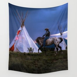 Cowboy on Horse With Teepee Wall Tapestry