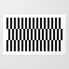 Black & White Triple Stripe Art Print