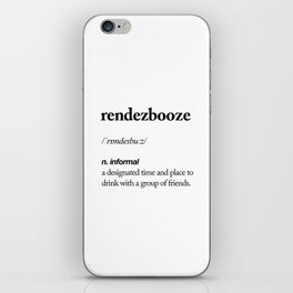 Rendezbooze black and white contemporary minimalism typography design home wall decor bedroom iPhone Skin
