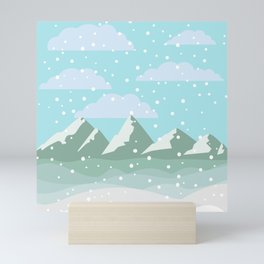 Fresh Mountain Snowfall Traditional Christmas Design Mini Art Print