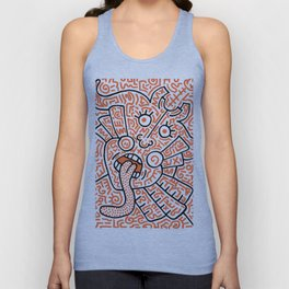 """The Face"" - inspired by Keith Haring v. orange Unisex Tank Top"