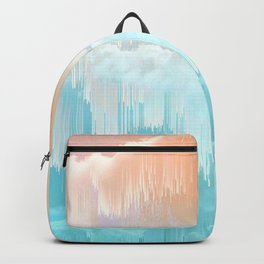 Frozen Sky Glitch - Icy blue & peach #glitchart #decor Backpack