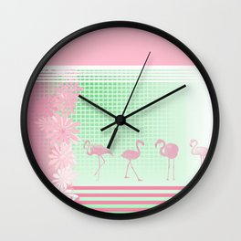 Baby Pink And Mint Green Flamingo Wall Clock