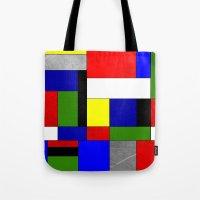 mondrian Tote Bags featuring Mondrian #4 by Ron Trickett (Rockett Graphics)