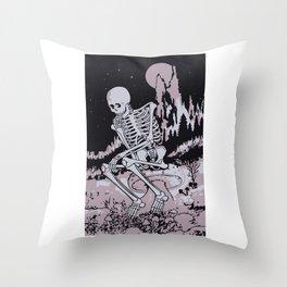 Skull Under The Moonlight Throw Pillow