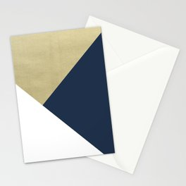 Gold meets Navy Blue & White Geometric #1 #minimal #decor #art #society6 Stationery Cards