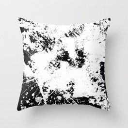 Spilt White Textured Black And White Abstract Painting Throw Pillow